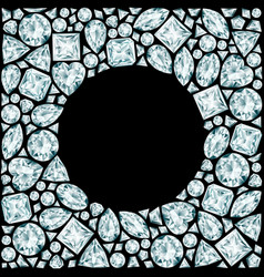 round frame made of diamonds on black background vector image