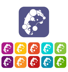 Cell virus icons set vector