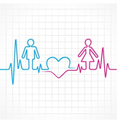 Heartbeat make malefemale and heart symbol vector