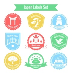 Made in Japan labels set vector image