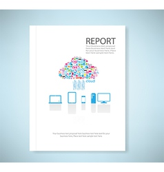 Cover report social network background with media vector image