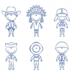 Male occupations costumes vector