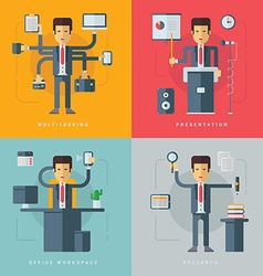 Set of flat conceptual of businessman multitasking vector