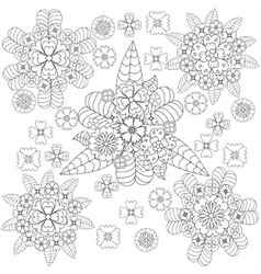 Doodle art floral pattern whith flowers vector