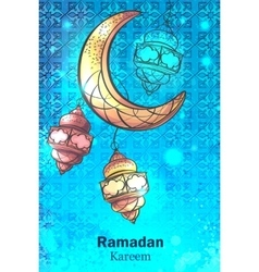 Greetings vertical background ramadan kareem vector