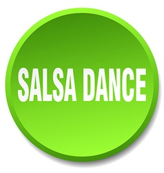 Salsa dance green round flat isolated push button vector