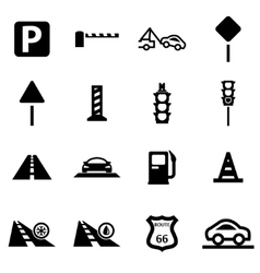 Black road icon set vector