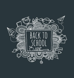 Back to school blackboard hand drawn doodle vector