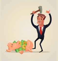 Businessman character smashed piggy bank vector
