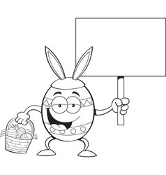 Cartoon Easter egg holding a sign vector image vector image