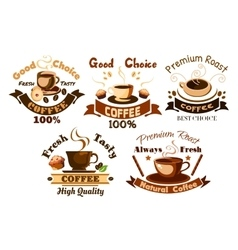 Coffee icons cafe signboards elements vector