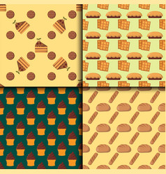 Cookie cakes seamless pattern tasty snack vector