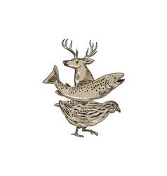 Deer trout quail drawing vector