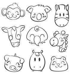 doodle of animal style cartoon vector image