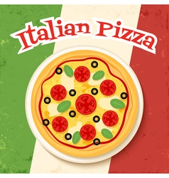 flag and pizza vector image