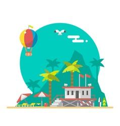 Flat design of beach guard tower on a beach vector image