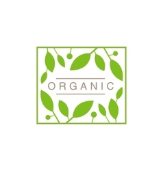 Frame with leaves and fruit organic product logo vector