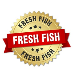 Fresh fish 3d gold badge with red ribbon vector