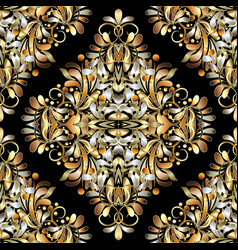 gold vintage 3d floral seamless pattern black vector image