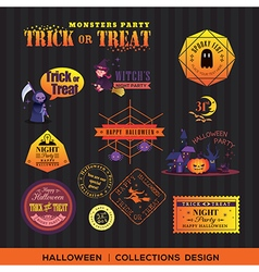 Halloween symbols labels and frames vector