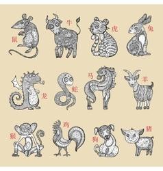Horoscope animals vector image vector image
