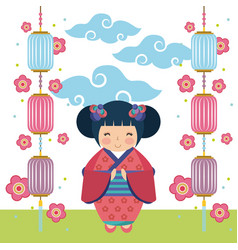 Japanese girl design vector