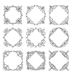 line monogram frames set background vector image