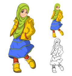 Muslim girl fashion wearing green veil or scarf vector