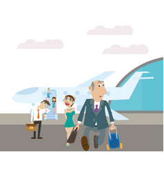 passengers disembarked from the plane vector image vector image