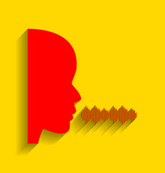 People speaking or singing sign red icon vector