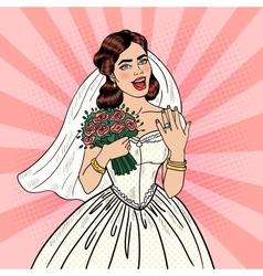 Pop Art Happy Bride with Flowers Bouquet vector image