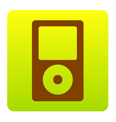 Portable music device brown icon at green vector