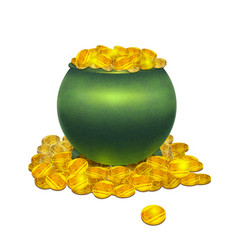 pot with gold coins vector image