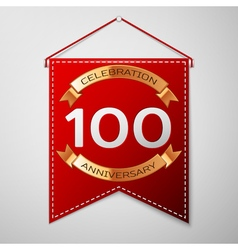 Red pennant with inscription hundred years vector
