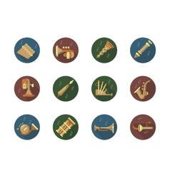 Round color icons set for music instruments vector