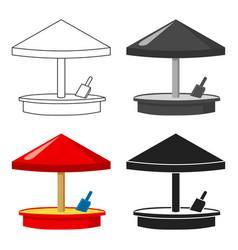 Sandbox icon in cartoon style isolated on white vector