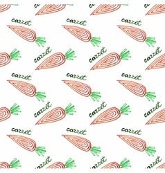 Seamless watercolor pattern with carrot on the vector image vector image