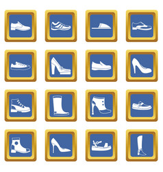 shoe icons set blue vector image