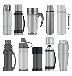 thermos mockup set realistic style vector image