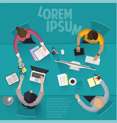 top view flat design office work vector image vector image