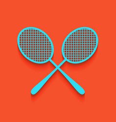 Two tennis racket sign whitish icon on vector