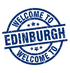 Welcome to edinburgh blue stamp vector