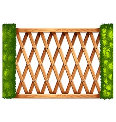 Wooden gateway with bush on the sides vector