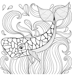 Zentangle whale in waves freehand sketch for adult vector