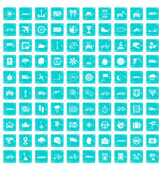100 ride icons set grunge blue vector