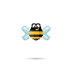 Pixel art funny bee isolated on white vector