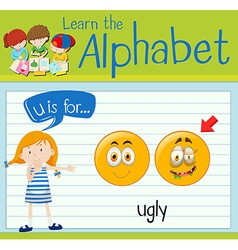 Flashcard letter u is for ugly vector