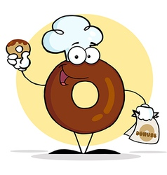 Donut cartoon character holding a donut vector