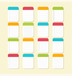 collection of various note papers sheets of vector image