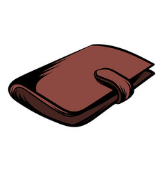 Brown wallet with card and cash icon cartoon vector